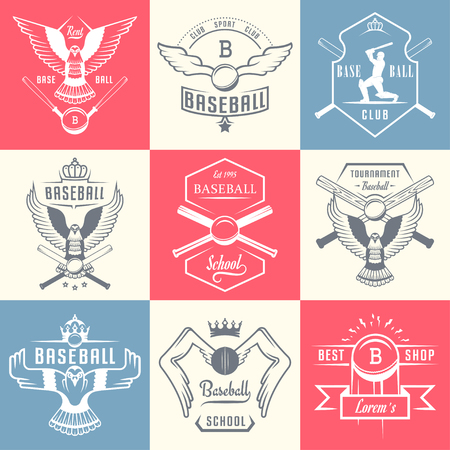 sports club: Set of vintage baseball labels, logo, sign, badges and outfit. Collection of club emblem and design elements. Tournament professional symbol and sports graphic. Illustration