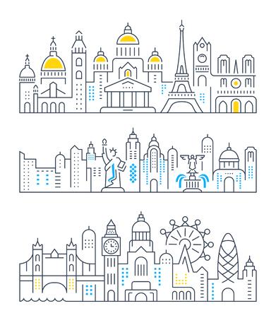 パリ、ロンドン、ニューヨークをテーマに平らな線ベクトル バナーのセットです。旅行、冒険、休暇のテンプレートです。モダンなフラット デザイ