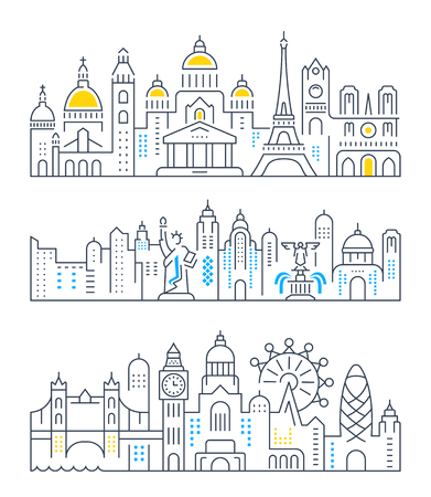 Set of flat line vector banners on the theme Paris, London, New York. Template for travel, adventure, vacation. Modern flat design. Trip vector logo.