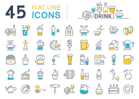 Set vector line icons drinks and alcohol tea, beer, coffee, wine, water, milk and champagne in flat design with elements for mobile concepts and web. Collection modern infographic logo and pictogram. 矢量图像