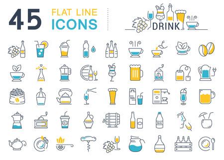 Stel vector lijn iconen drankjes en alcohol thee, bier, koffie, wijn, water, melk en champagne in flat design met elementen voor mobiele concepten en web. Verzameling moderne infographic logo en pictogram.