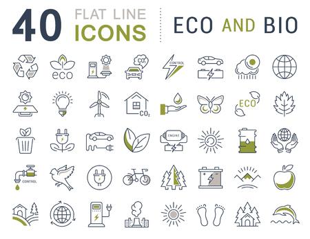Fije los iconos del vector de línea de eco y bio diseño plano, orgánica y el reciclaje de elementos para conceptos móviles y aplicaciones web. Colección moderna logotipo de infografía y pictograma.