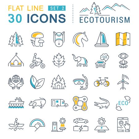 thrift: Set vector line icons in flat design eco, ecotourism and recycle with elements for mobile concepts and web apps. Collection modern infographic logo and pictogram.