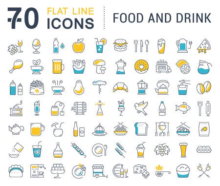 Establecer la línea de vectores iconos de bebidas, comida y comida rápida en el diseño plano con los elementos para los conceptos de móviles y web. Colección moderna logotipo de infografía y pictograma.