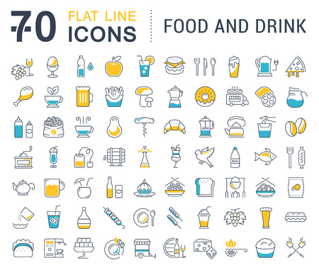 Set vector line icons drinks, meal and fast food in flat design with elements for mobile concepts and web. Collection modern infographic logo and pictogram. 免版税图像 - 59668505