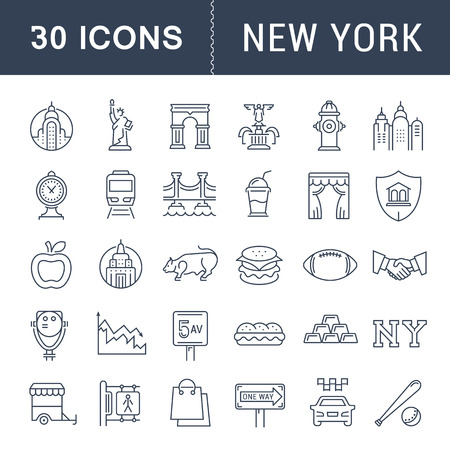 chrysler: Set vector line icons in flat design New York and USA with elements for mobile concepts and web apps. Collection modern infographic logo and pictogram.