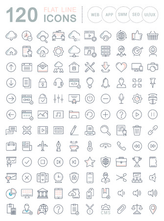 Set vector line icons in flat design smm, cms, seo and ui, ux design with elements for mobile concepts and web apps. Collection modern infographic and pictogram.