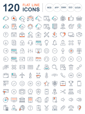 api: Set vector line icons in flat design smm, cms, seo and ui, ux design with elements for mobile concepts and web apps. Collection modern infographic and pictogram. Illustration