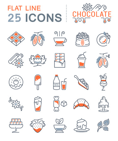 cacao: Set vector line icons in flat design chocolate, dessert, cacao and candy with elements for mobile concepts and web apps. Collection modern infographic and pictogram. Illustration