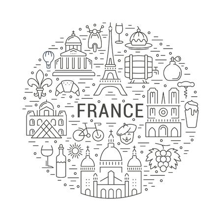 Francia e Parigi Concetto della città. Simboli isolati su sfondo. Web banner con il motorino, il vino, l'architettura, il ciclo, e cosa la cultura. Contrassegno di vettore o l'emblema.
