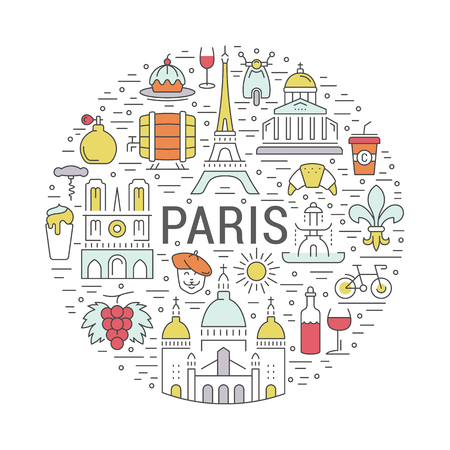 France and Paris City concept. Symbols isolated on background. Web banner with scooter, wine, architecture, cycle, and culture thing. Vector label or emblem.