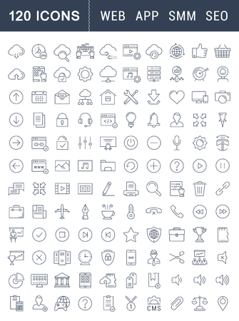 Set vector line icons in flat design smm, cms, seo and ui, ux design with elements for mobile concepts and web apps. Collection modern infographic and pictogram. Vettoriali