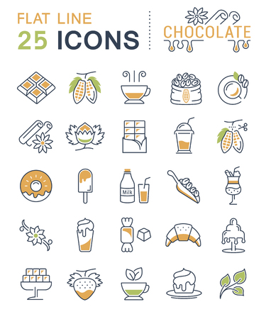 vanilla pudding: Set vector line icons in flat design chocolate, dessert, cacao and candy with elements for mobile concepts and web apps. Collection modern infographic  and pictogram.