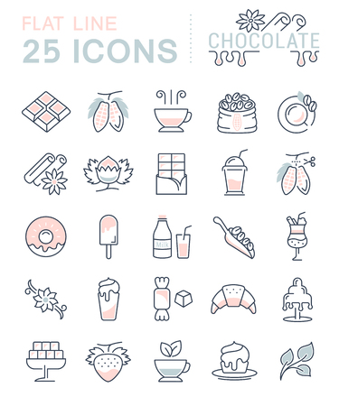 vanilla pudding: Set vector line icons in flat design chocolate, dessert, cacao and candy with elements for mobile concepts and web apps. Collection modern infographic and pictogram. Illustration