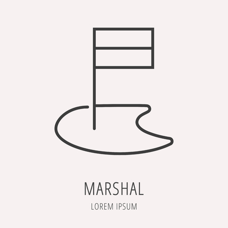 marshal: Line style template with marshal. Easy to use business template. Vector abstract or emblem.