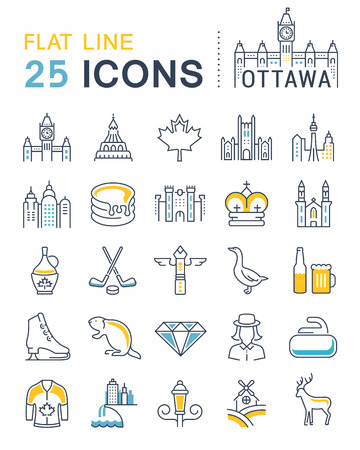 ottawa: Set vector line icons in flat design Ottawa, Canada and North America with elements for mobile concepts and web apps. Collection modern infographic and pictogram.