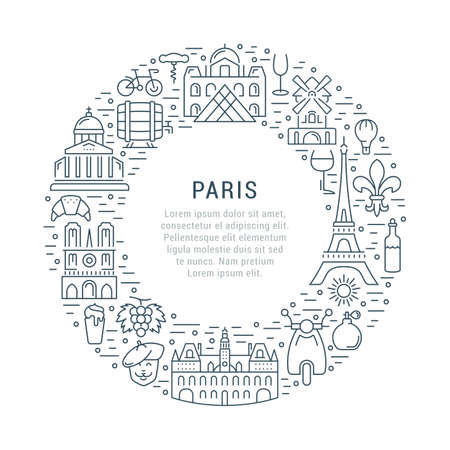 coeur: France and Paris City concept. Symbols isolated on background. Web banner with scooter, wine, architecture, cycle, and culture thing. Vector label or emblem.