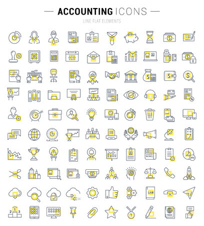 accounting logo: Set vector line icons in flat design accounting, finance and business with elements for mobile concepts and web apps. Collection modern infographic logo and pictogram. Illustration