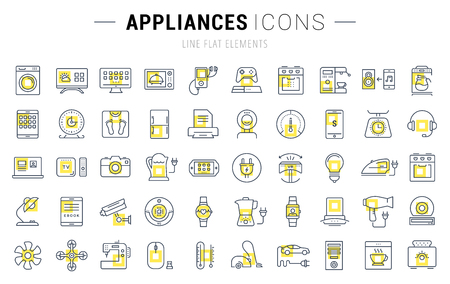 iron fan: Set vector line icons in flat design appliance, smart devices and gadgets, modern web icons and symbols with elements for mobile concepts and web apps. Collection modern infographic logo and pictogram