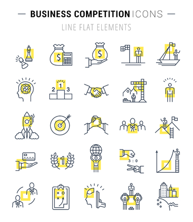 competitive advantage: Set vector line icons with open path business competition, leadership development, people management with elements for mobile concepts and web apps. Collection modern infographic logo.