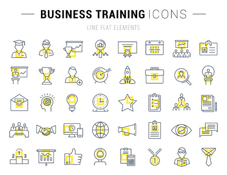 course development: Set vector line icons in flat design business training and development, training course, business meeting with elements for mobile concepts and web apps. Collection modern infographic logo and sign.