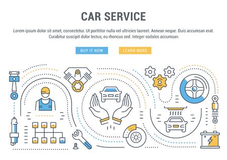 車サービスの平らな線のイラスト。ウェブのバナーや印刷物のコンセプトです。ウェブサイトのバナーとリンク先ページのボタンを持つテンプレート。