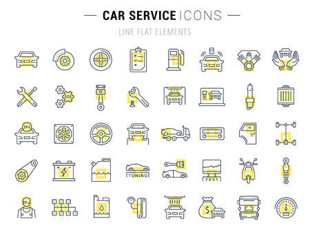 Establecer iconos de líneas vectoriales con servicio de trazado abierto automóvil, reparación de automóviles y el transporte de elementos para conceptos móviles y aplicaciones web. Colección moderna logotipo de infografía y pictograma.