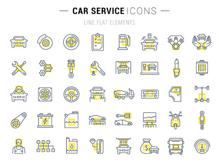 Set vector line icons with open path car service, auto repair and transport with elements for mobile concepts and web apps. Collection modern infographic logo and pictogram. Illustration