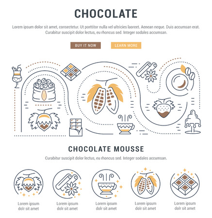 vanilla pudding: Flat line illustration of Chocolate. Concept for web banners and printed materials. Template with buttons for website banner and landing page.