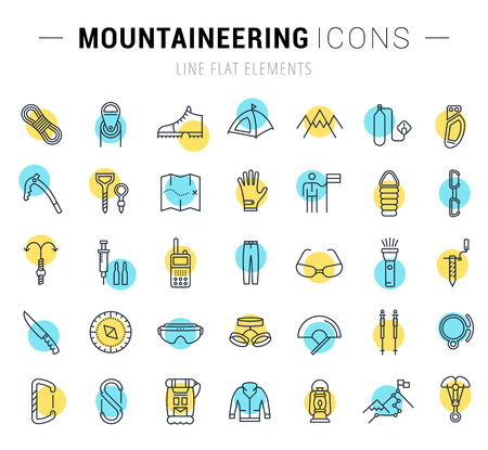 mountaineering: Set vector line icons with open path mountaineering and hiking with elements for mobile concepts and web apps. Collection modern infographic logo and pictogram.