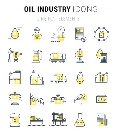 energy production: Set vector line icons with open path oil industry, power and energy production, mining minerals with elements for mobile concepts and web apps. Collection modern infographic logo and pictogram Illustration