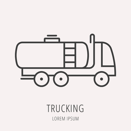 trucking: logo or label oil. Line style logotype template with trucking. Easy to use business template. Vector abstract logo or emblem.