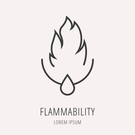 flammability: logo or label oil. Line style logotype template with flammability. Easy to use business template. Vector abstract logo or emblem.