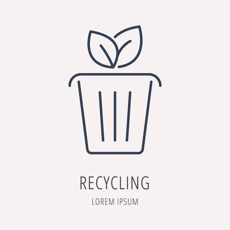 Reciclaje logotipo o etiqueta. logotipo estilo de línea. Fácil de usar la plantilla de negocio. Vector de la muestra abstracta o emblema.
