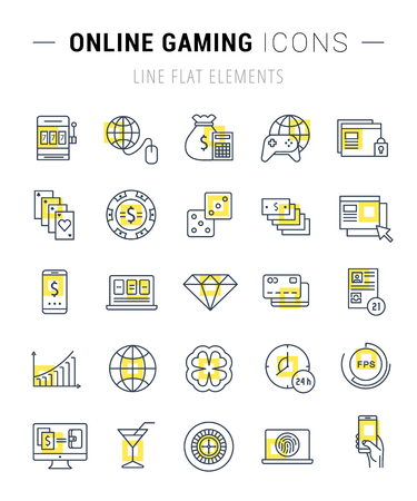 roulette online: Set vector line icons with open path online gaming, casino, slot machine and slots, mobile gaming with elements for mobile concepts and web apps. Collection modern infographic logo and pictogram Illustration