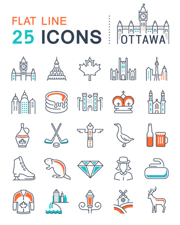 canada goose: Set vector line icons in flat design Ottawa, Canada and North America with elements for mobile concepts and web apps. Collection modern infographic logo and pictogram. Illustration
