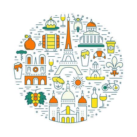 sacre coeur: France et la Ville de Paris concept. Symboles isolé sur fond. bannière Web avec un scooter, le vin, l'architecture, le cycle, et chose de la culture. Vector label ou de l'emblème.
