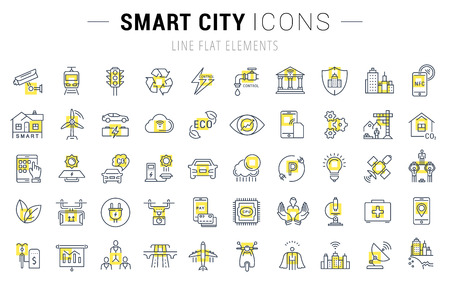 オープンパス スマート シティーとベクトル線のアイコンと携帯電話の概念と web アプリのための要素技術を設定します。コレクション モダンなイン