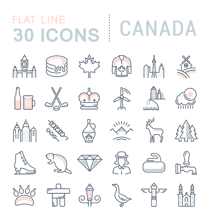 canada goose: Set vector line icons in flat design Canada, North America and architecture with elements for mobile concepts and web apps. Collection modern infographic logo and pictogram. Illustration
