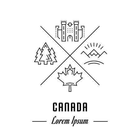 canada goose: Vector logo Canada. Hipster emblem, label or banner for travel company or country. Line sign with elements. Concept brand.