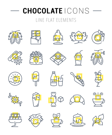 vanilla pudding: Set vector line icons in flat design chocolate, dessert, cacao and candy with elements for mobile concepts and web apps. Collection modern infographic logo and pictogram. Illustration