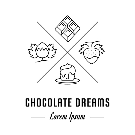 chocolate mousse: Vector logo chocolate. Hipster emblem, label or banner for company. Line sign with elements. Concept brand.