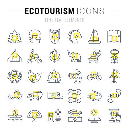 turismo ecologico: Establecer iconos de líneas vectoriales en eco diseño plano, el ecoturismo y reciclar con elementos móviles de conceptos y aplicaciones web. Colección moderna logotipo de infografía y pictograma.
