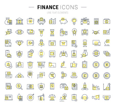 Set vector line icons with open path finance and business with elements for mobile concepts and web apps. Collection modern infographic logo and pictogram.