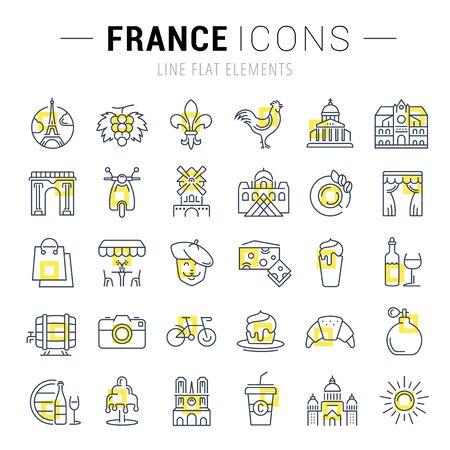 pasteleria francesa: Fije los iconos del vector de línea de diseño plano Francia, París y Europa con elementos para conceptos móviles y aplicaciones web. Colección moderna logotipo de infografía y pictograma. Vectores