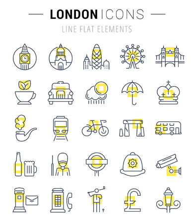 gherkin building: Set vector line icons in flat design London and England with elements for mobile concepts and web apps. Collection modern infographic logo and pictogram.