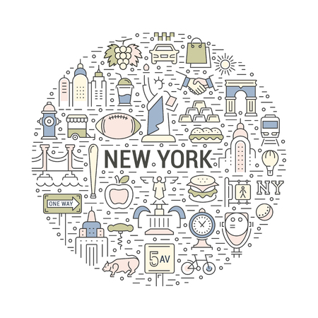 ny: USA and New York City concept. Symbols isolated on background. Web banner, vector label or emblem.