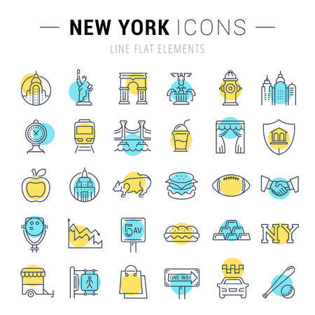 Set vector line icons in flat design New York and USA with elements for mobile concepts and web apps. Collection modern infographic logo and pictogram.