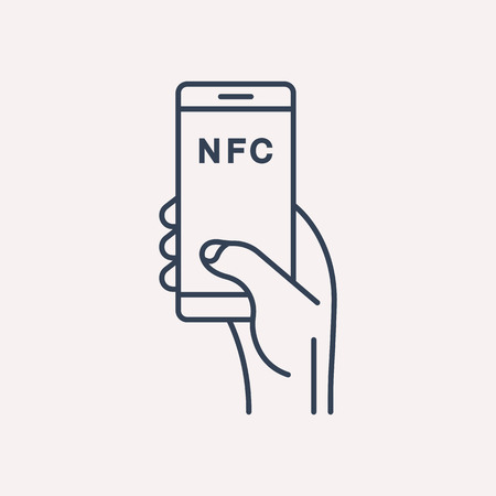 nfc: logo or label NFC. Line style logotype. Easy to use business template. Vector abstract sign or emblem.