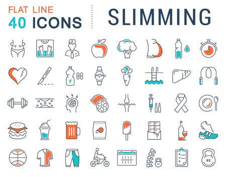 フラット セット ベクトル線アイコン携帯電話の概念の要素を持つ痩身、健康食品、ダイエットの設計し、web アプリ。コレクション モダンなインフ